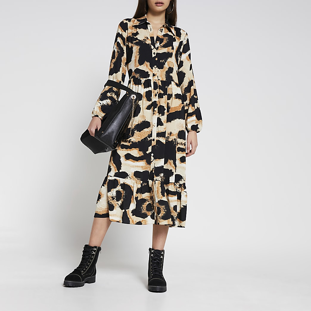 Beige long sleeve animal midi shirt dress
