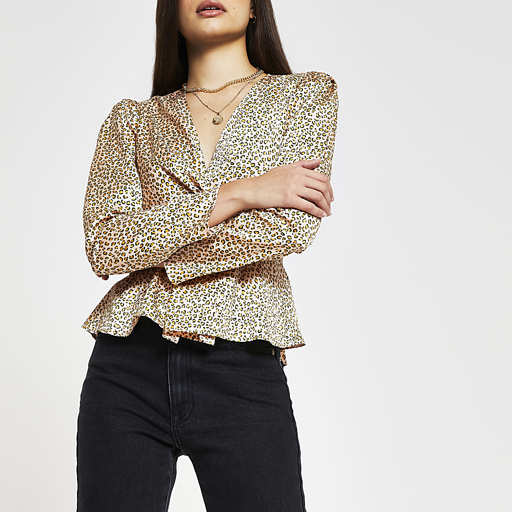 Beige long sleeve animal print blouse
