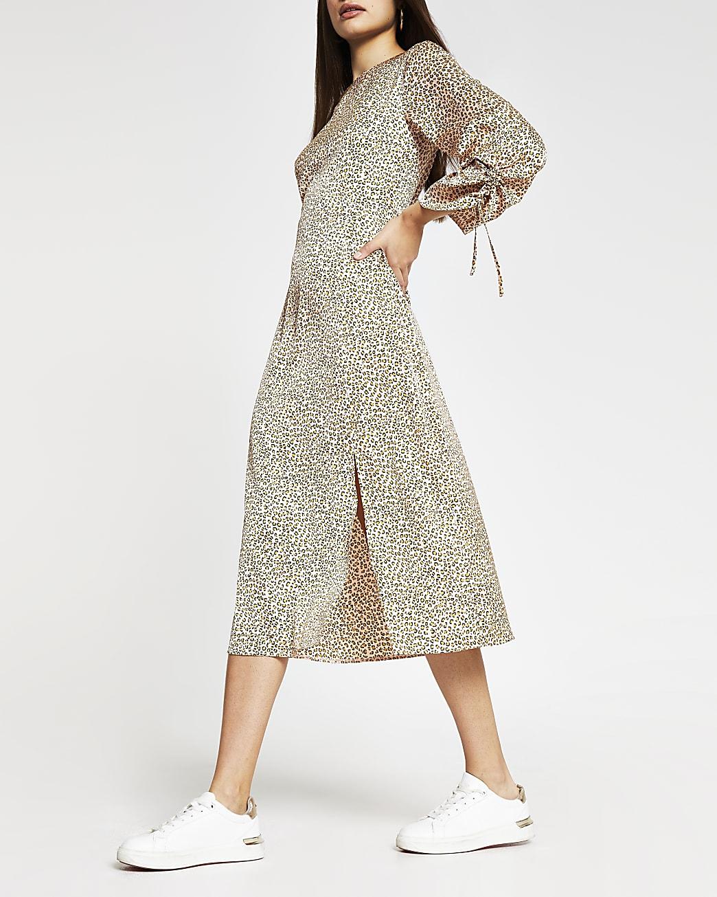 Beige long sleeve animal print midi dress
