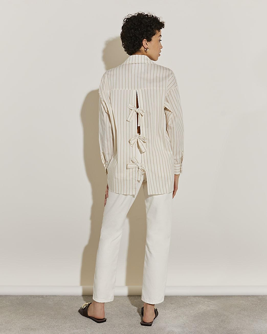 Beige long sleeve bow back shirt