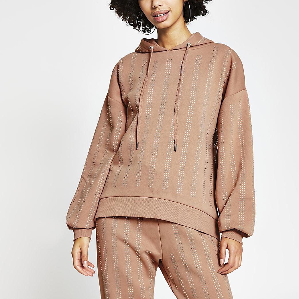 Beige long sleeve embellished hoodie