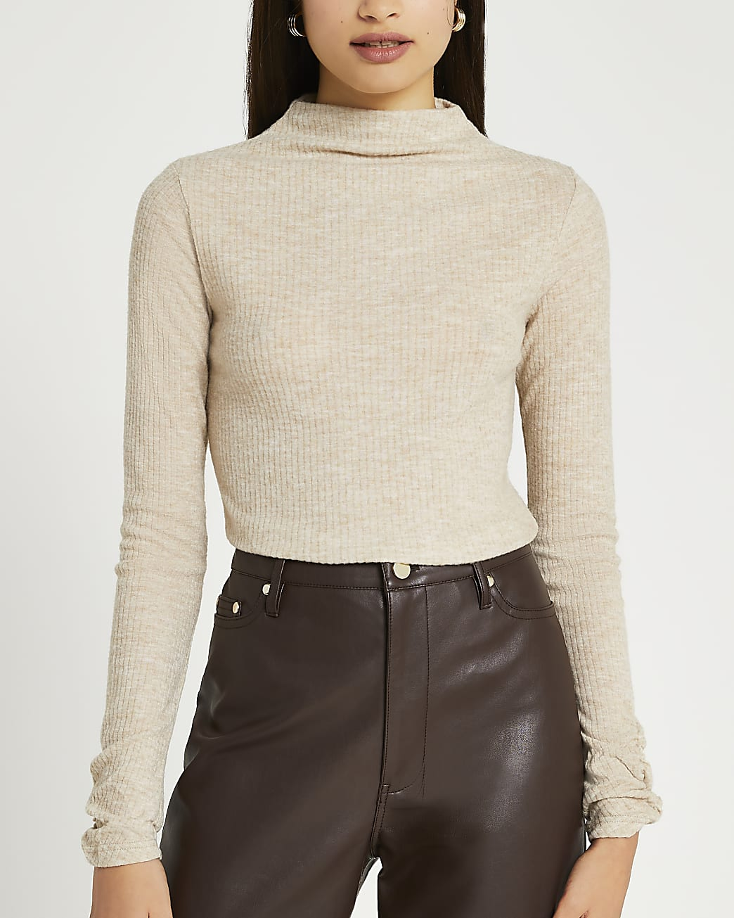 Beige long sleeve high neck ribbed top