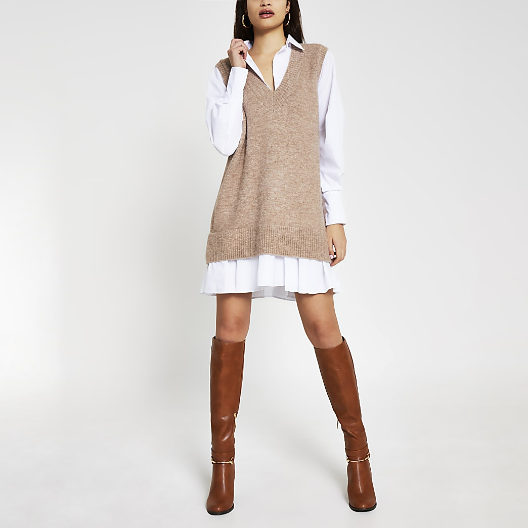 Beige Long Sleeve Hybrid Shirt Jumper Dress