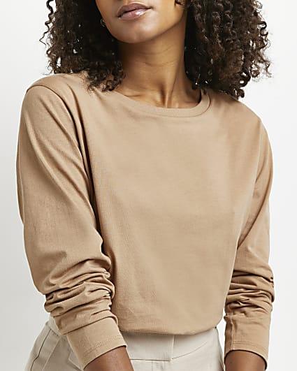 Beige long sleeve longline t-shirt