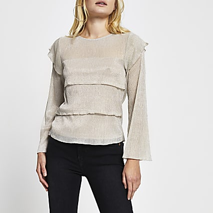 Beige long sleeve plisse layered top