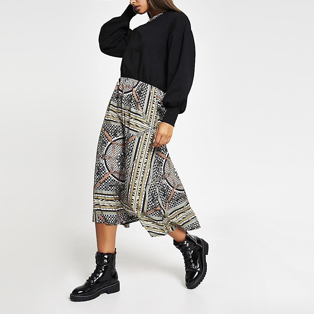 Beige long sleeve scarf print sweat dress