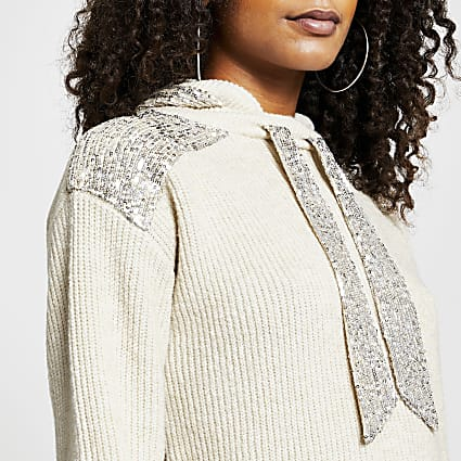 Beige long sleeve sequin panel hoodie