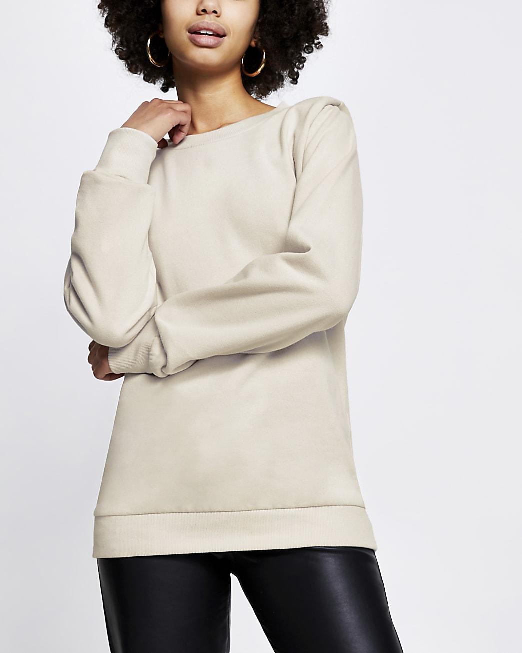 Beige long sleeve shoulder pad sweatshirt