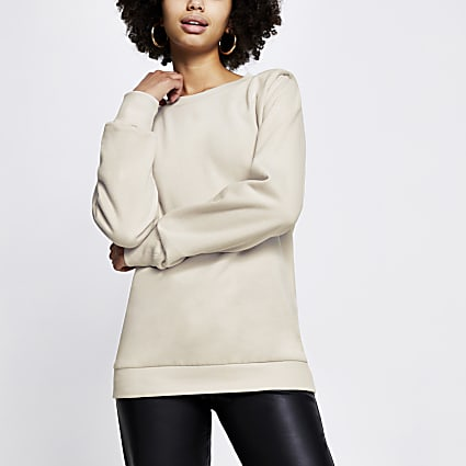 Beige long sleeve shoulder pad sweatshirt