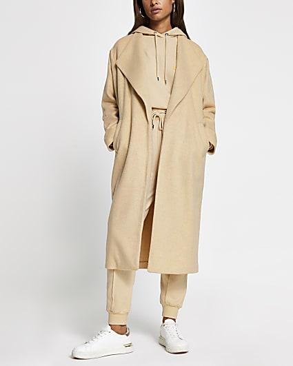 Beige longline coatigan