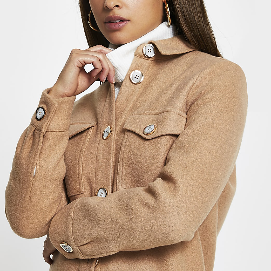 Beige longline long sleeve shacket
