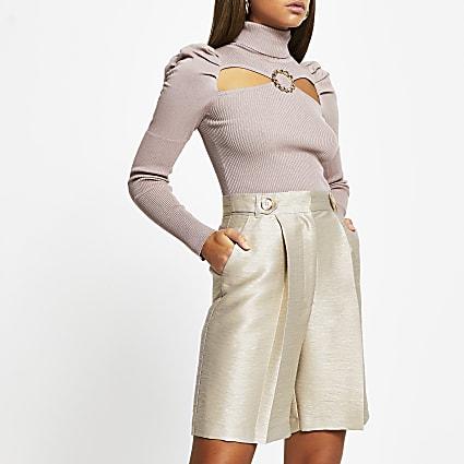 Beige metallic bermuda shorts