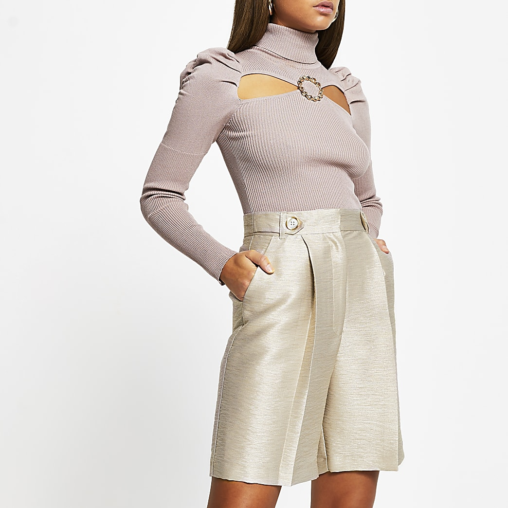 Beige metallic bermuda shorts
