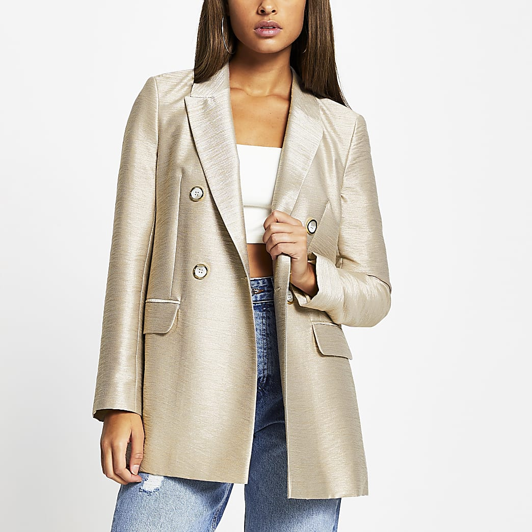 Beige metallic structured long sleeve blazer