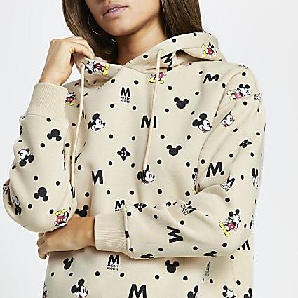 Beige Mickey Mouse long sleeve hoodie