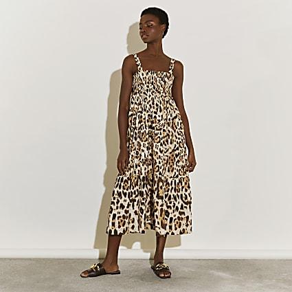 Beige midaxi shirred animal print beach dress