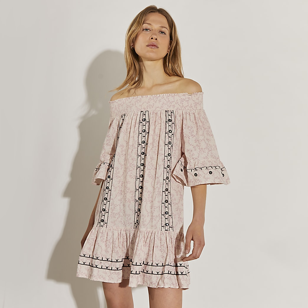 Beige mini bardot dress