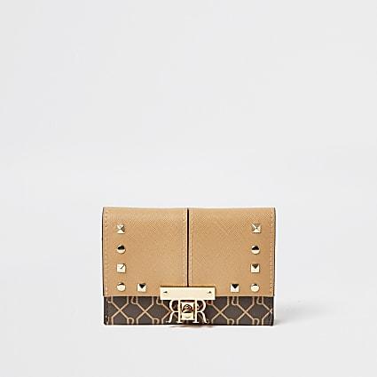 Beige mini stud foldover purse
