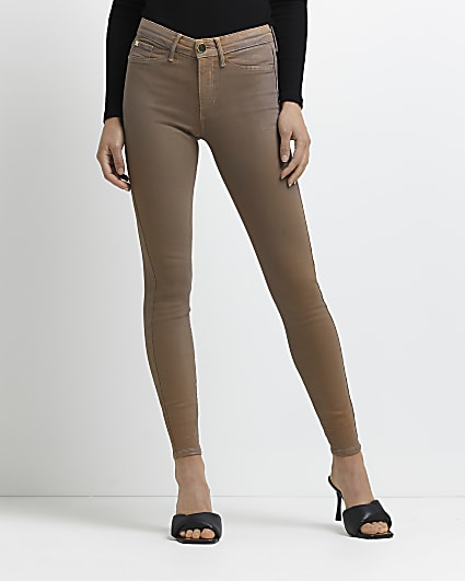 Beige Molly coated mid rise skinny jeans