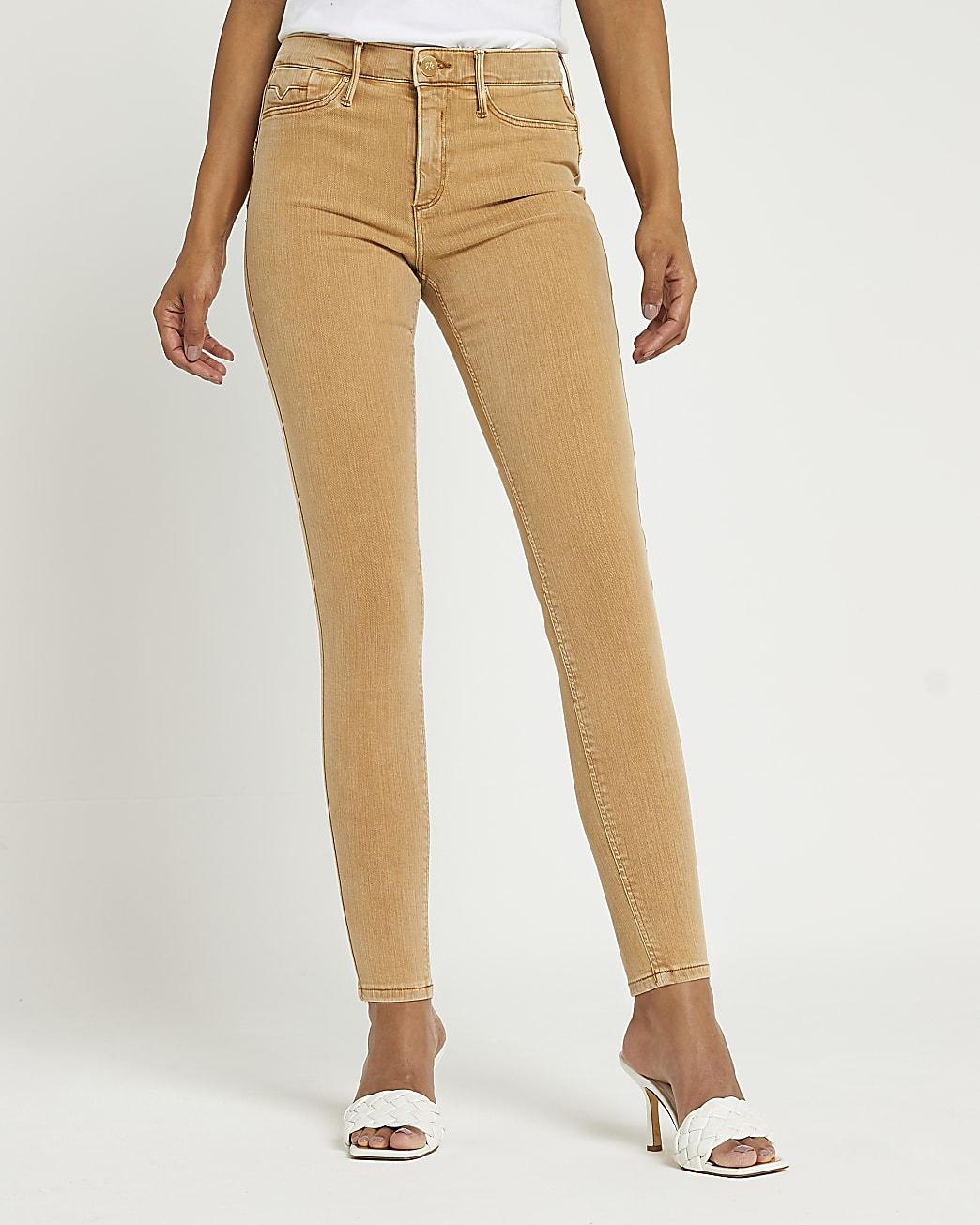 Beige Molly mid rise bum sculpt skinny jeans