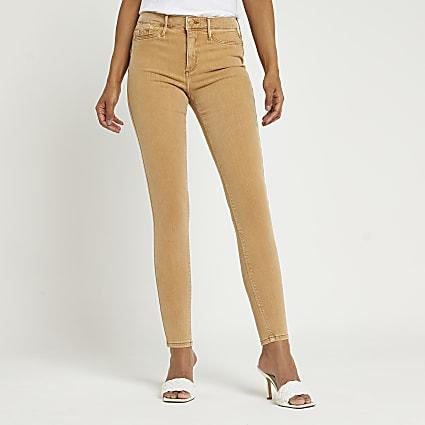 Beige Molly mid rise sculpt jeans