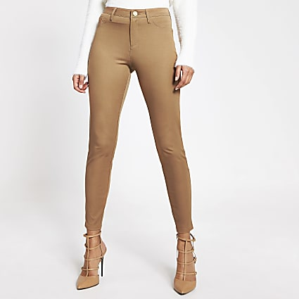 Beige Molly mid rise trousers