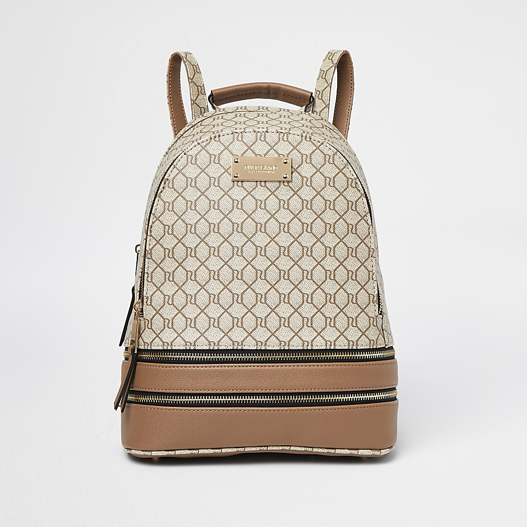 Beige monogram backpack