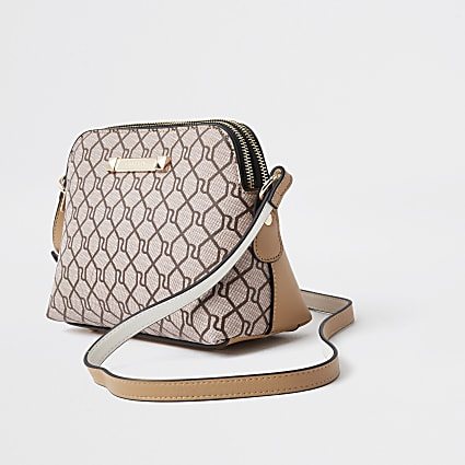 Beige monogram cross body bag