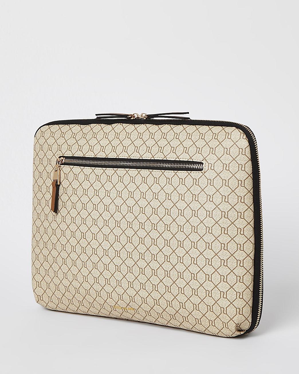 Beige monogram laptop case