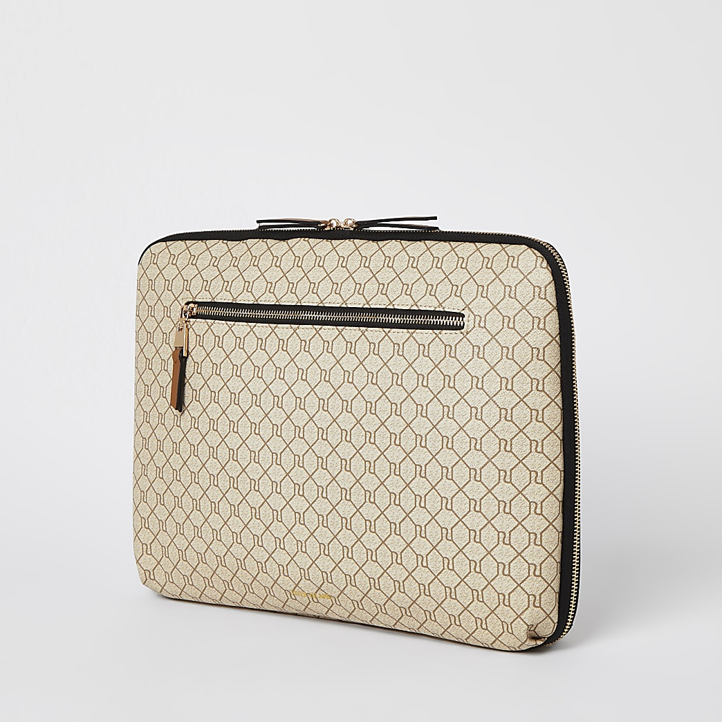 Beige monogram laptop case