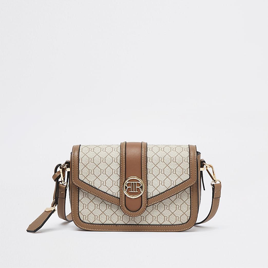 Beige monogram satchel bag