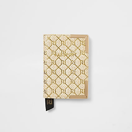 Beige monogram weave passport holder