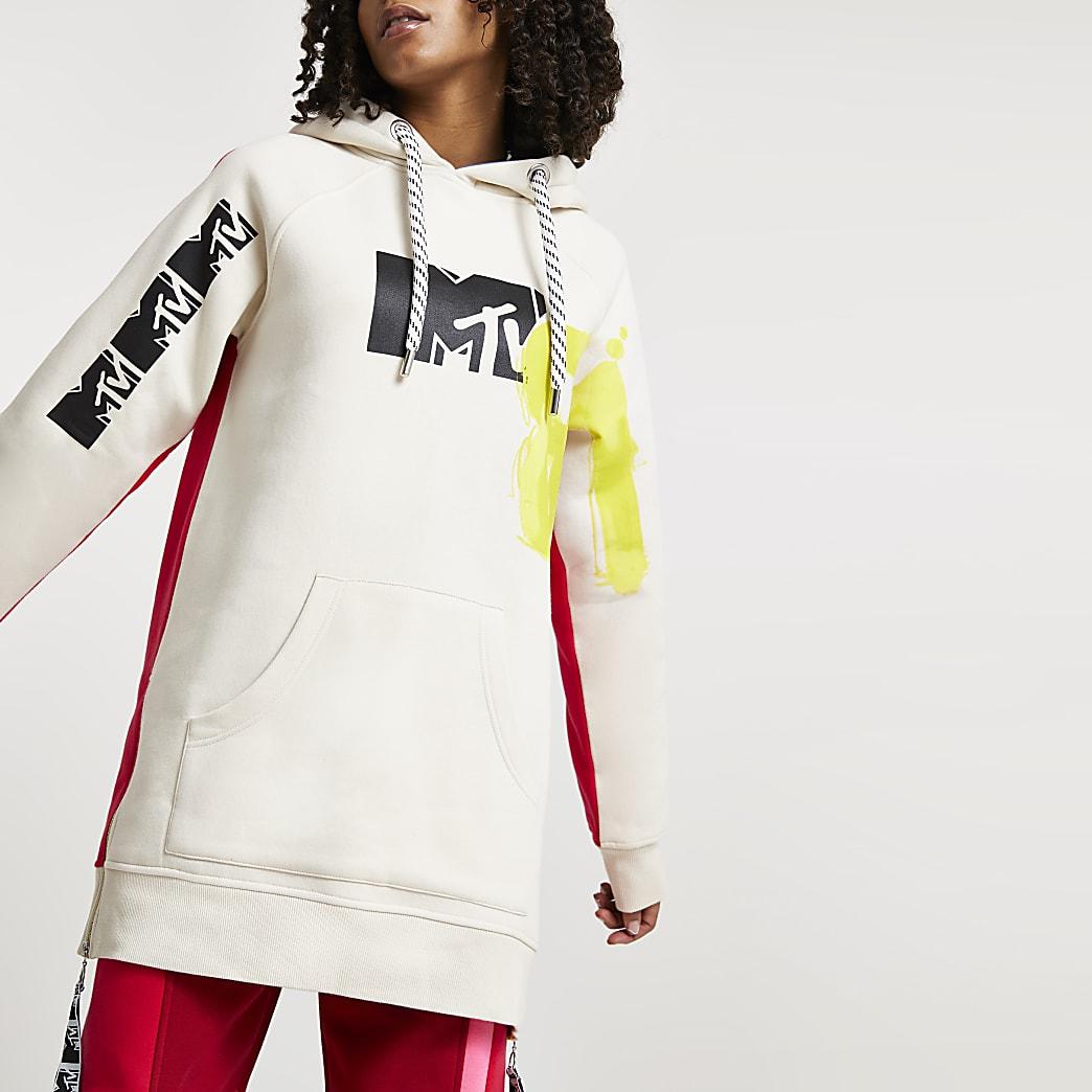 Beige MTV oversized long sleeve hoodie