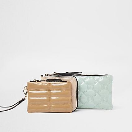 Beige multi mini pouches