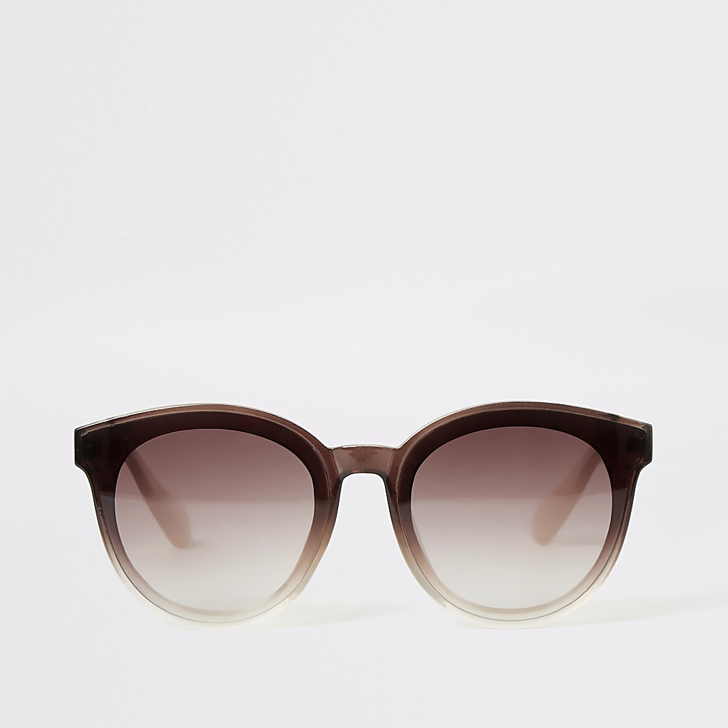 Beige ombre glam frame sunglasses
