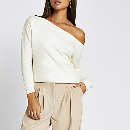 Beige open neck asymmetric top