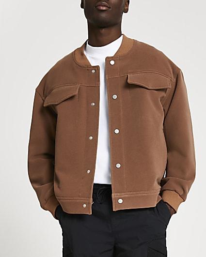 Beige oversized bomber jacket