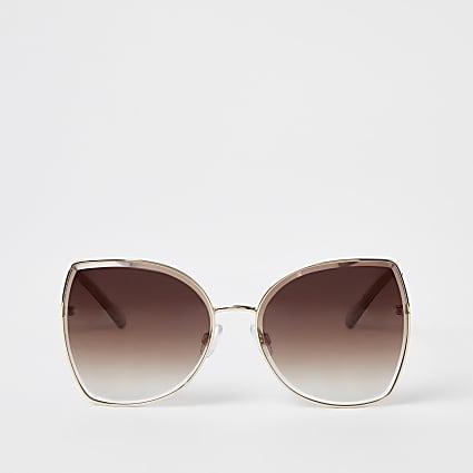 Beige oversized glam sunglasses