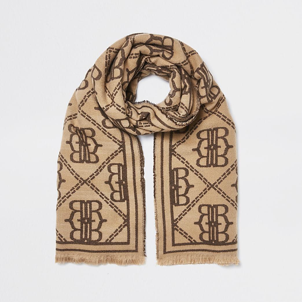 Beige oversized RI monogram scarf