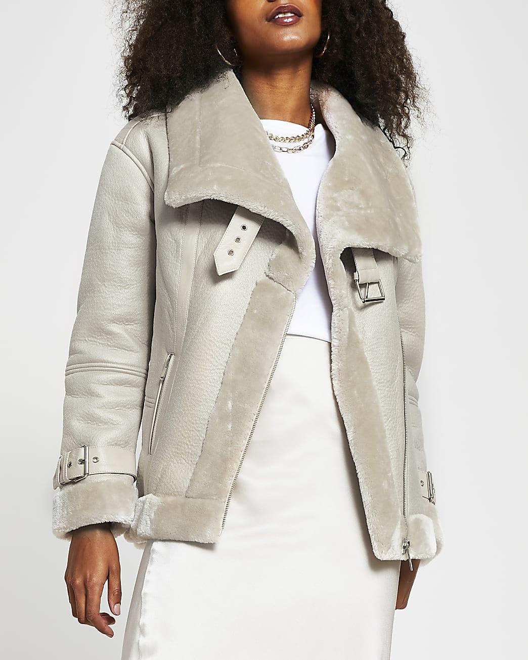 Beige oversized shearling aviator jacket