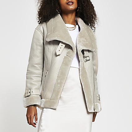 Beige oversized shearling aviator jacket
