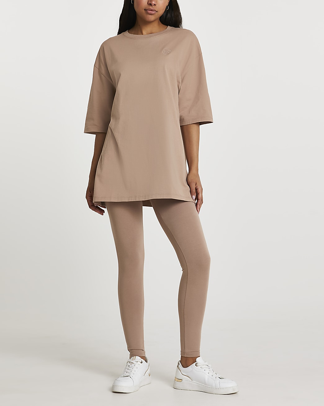 Beige oversized short sleeve t-shirt
