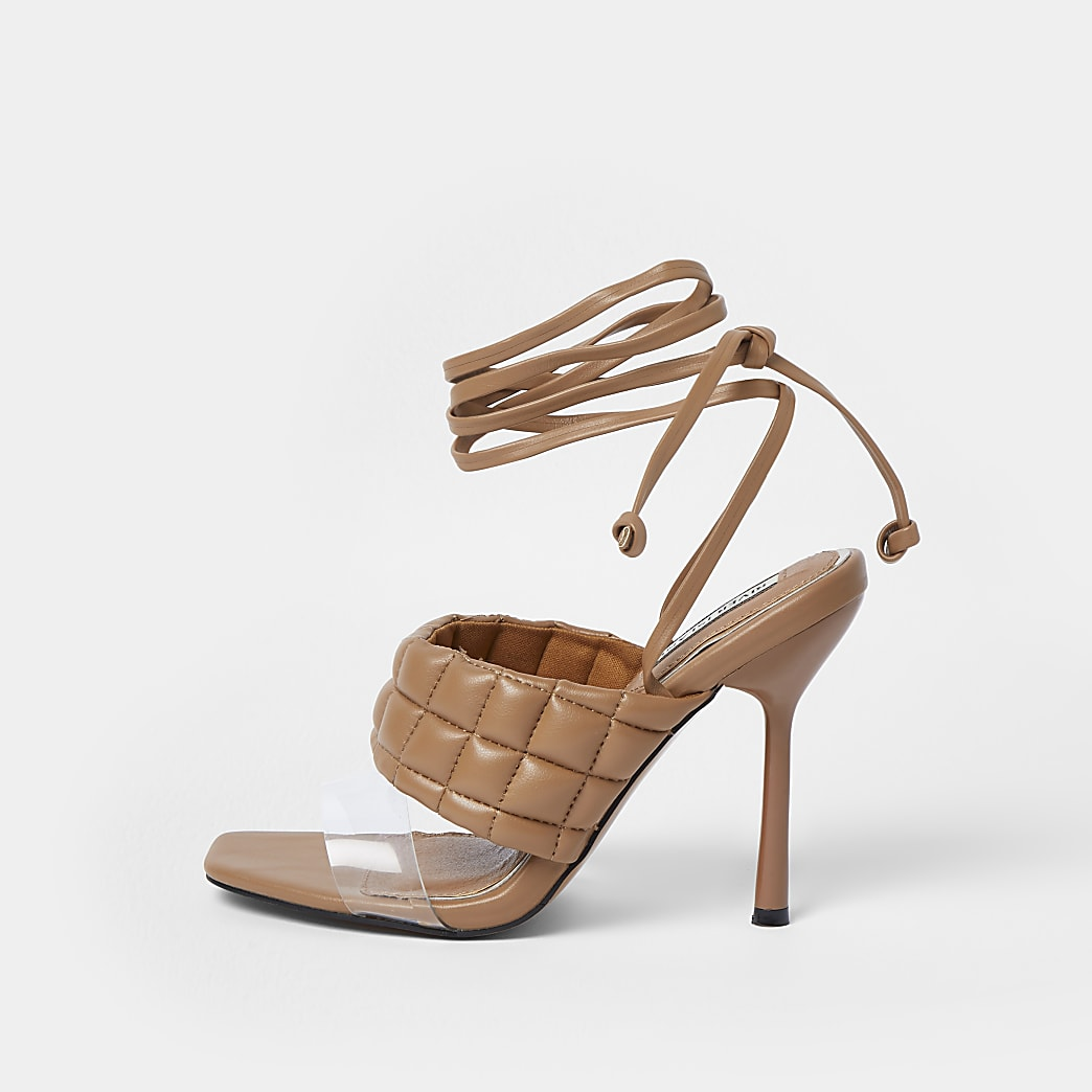 Beige padded strap tie up sandals