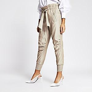 Pantalon de joggingà taille haute ceinturée beige