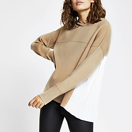 Beige pleated back hoody