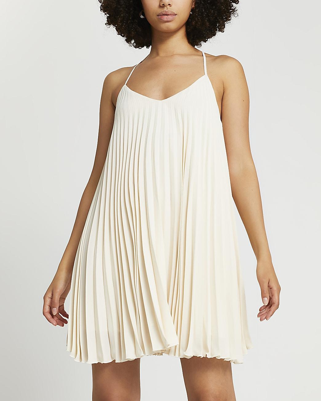 Beige pleated slip dress