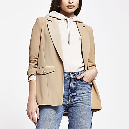 Beige pocket detail blazer