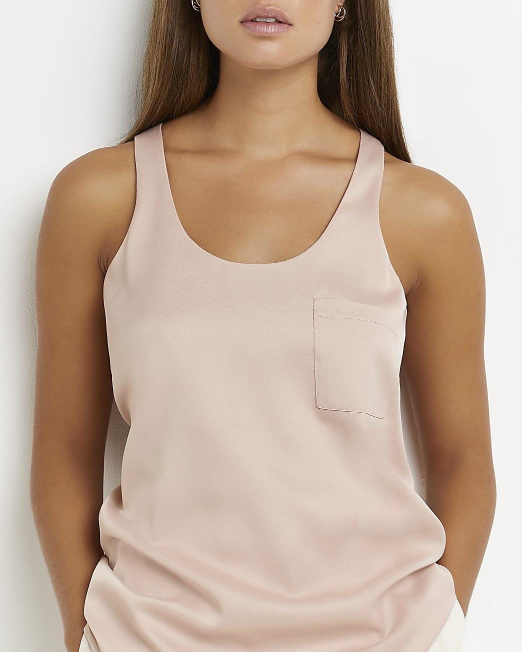 Beige pocket detail vest top