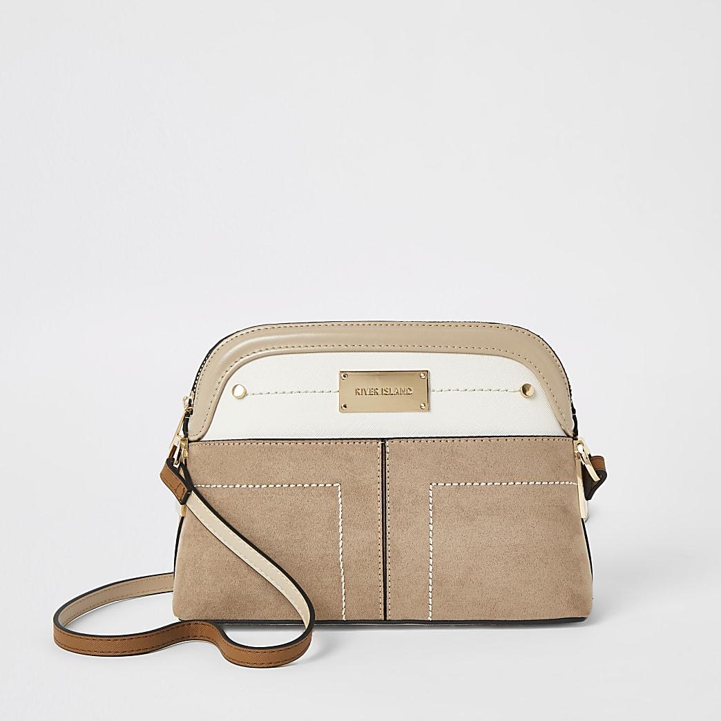 Beige pocket front cross body bag