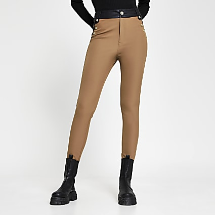 Beige ponte high waist button trousers